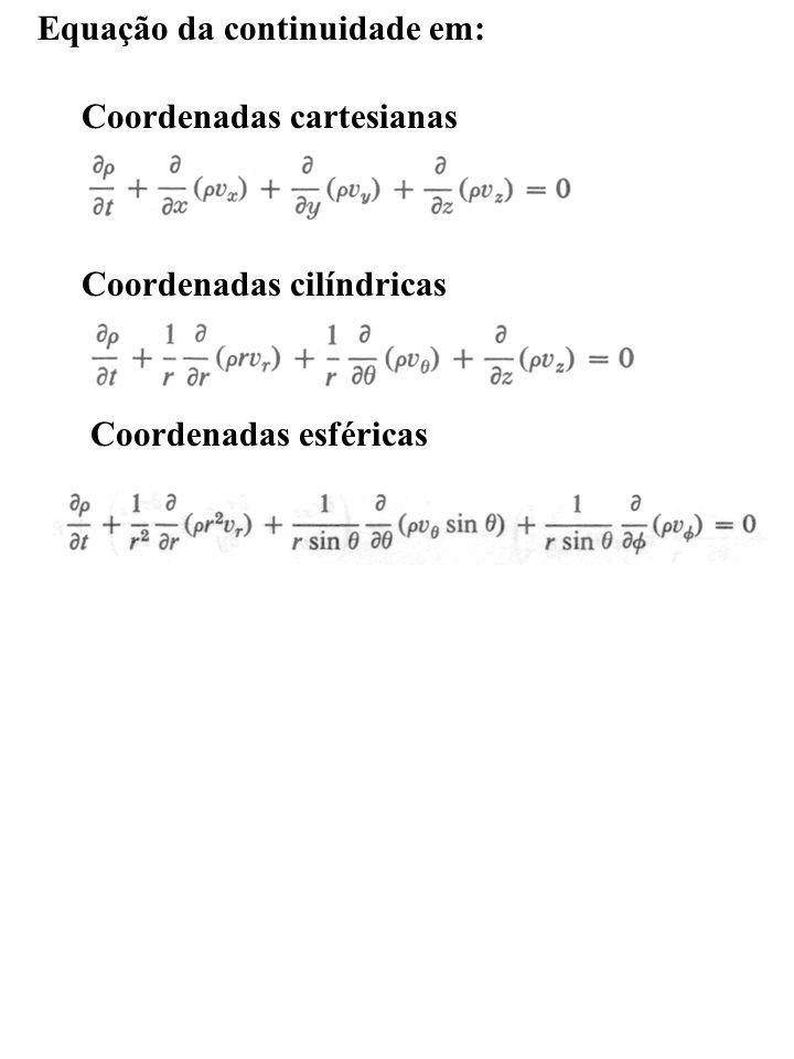 Equação da continuidade em: Coordenadas cartesianas Coordenadas cilíndricas Coordenadas esféricas