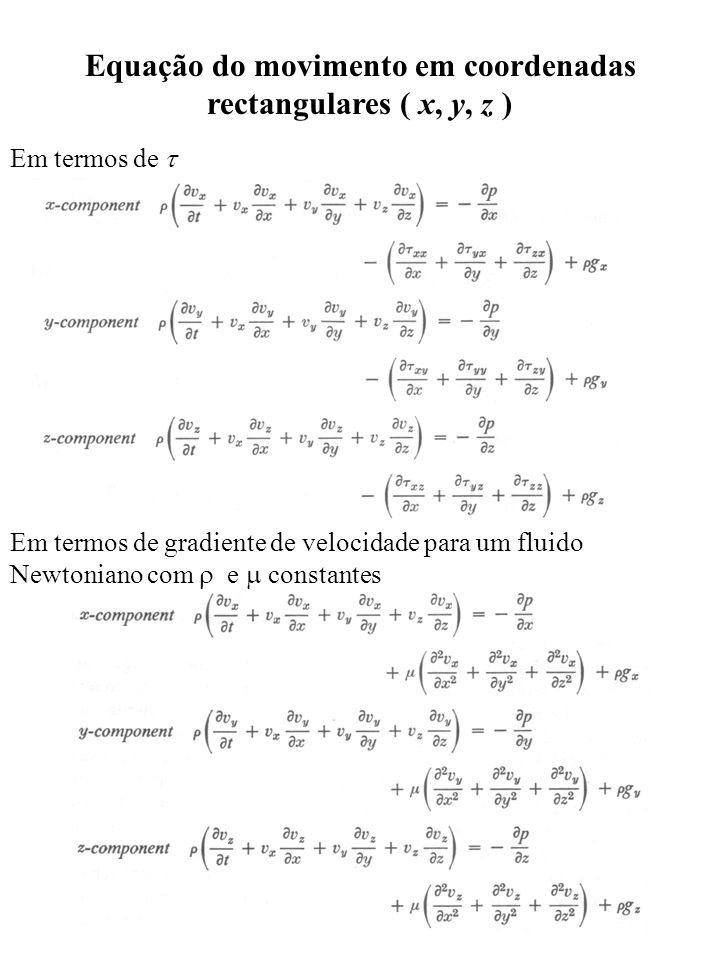 Equação do movimento em coordenadas rectangulares ( x, y, z ) Em termos de Em termos de gradiente de velocidade para um fluido Newtoniano com e consta