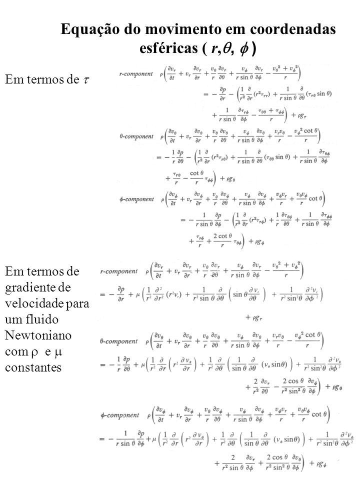 Em termos de Em termos de gradiente de velocidade para um fluido Newtoniano com e constantes Equação do movimento em coordenadas esféricas ( r,, )