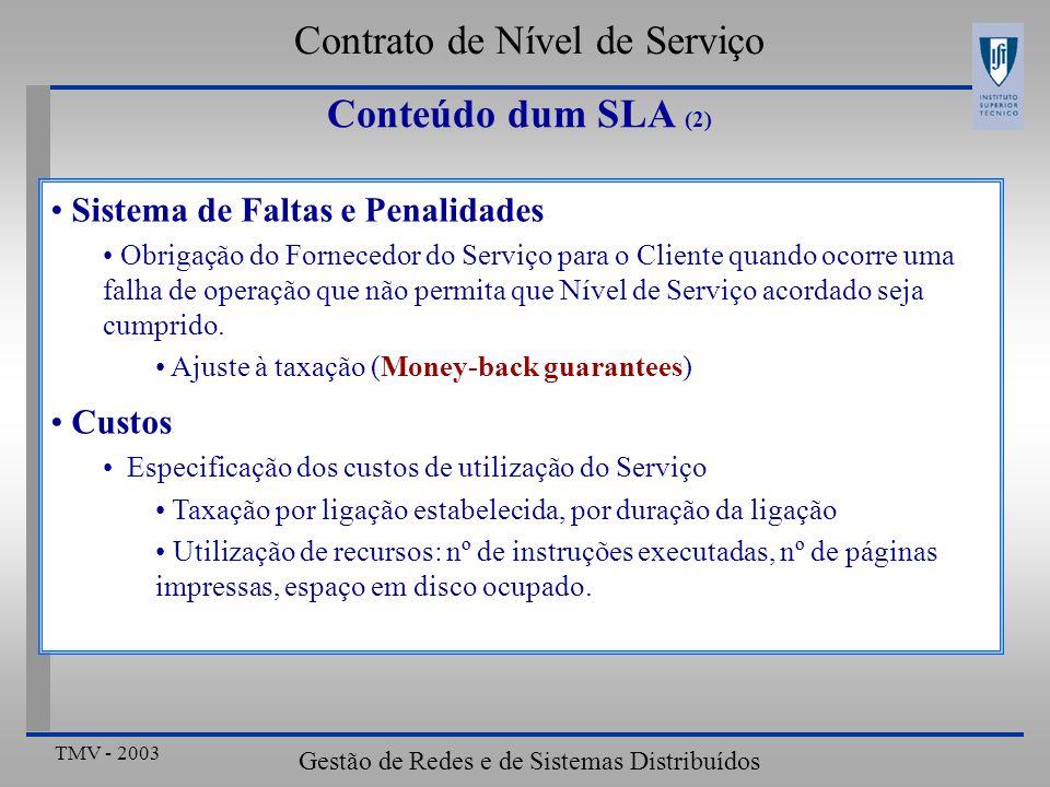 TMV - 2003 Gestão de Redes e de Sistemas Distribuídos Sistema de Faltas e Penalidades Obrigação do Fornecedor do Serviço para o Cliente quando ocorre uma falha de operação que não permita que Nível de Serviço acordado seja cumprido.
