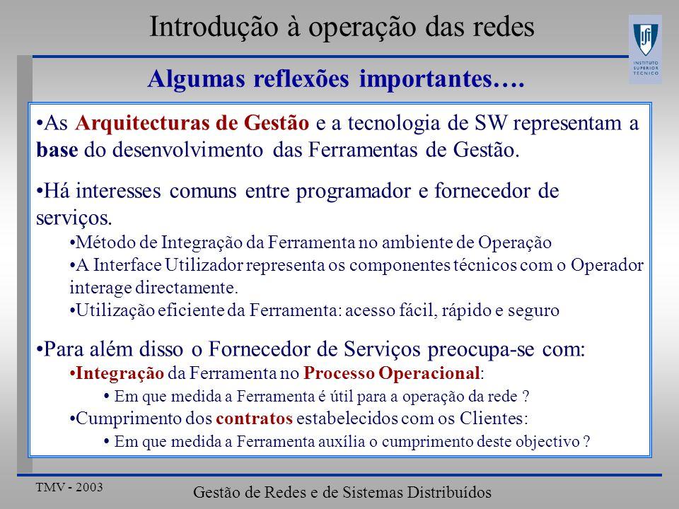 TMV - 2003 Gestão de Redes e de Sistemas Distribuídos Algumas reflexões importantes….