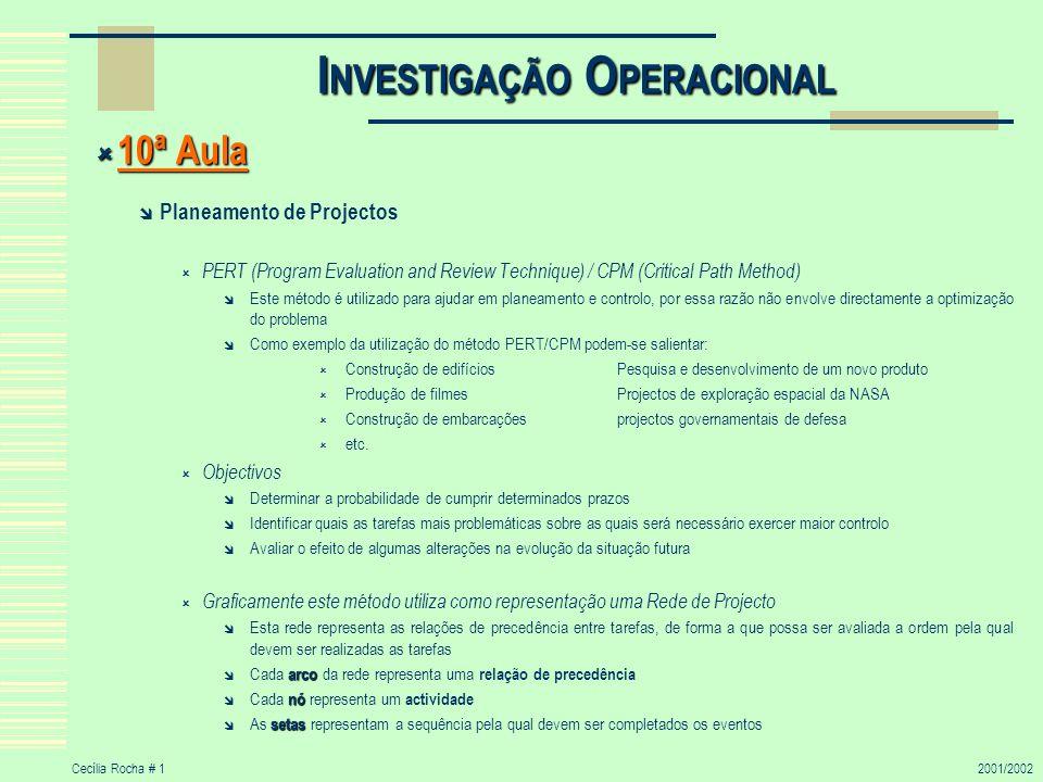 Cecília Rocha # 12001/2002 I NVESTIGAÇÃO O PERACIONAL 10ª Aula 10ª Aula Planeamento de Projectos PERT (Program Evaluation and Review Technique) / CPM