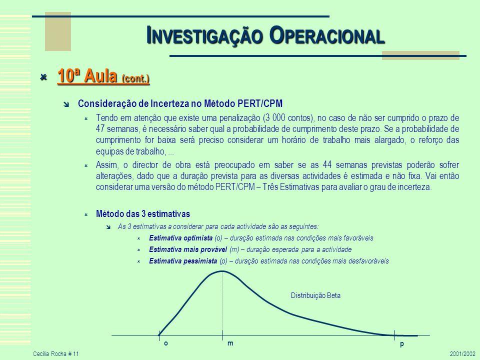 Cecília Rocha # 112001/2002 I NVESTIGAÇÃO O PERACIONAL 10ª Aula (cont.) 10ª Aula (cont.) Consideração de Incerteza no Método PERT/CPM Tendo em atenção
