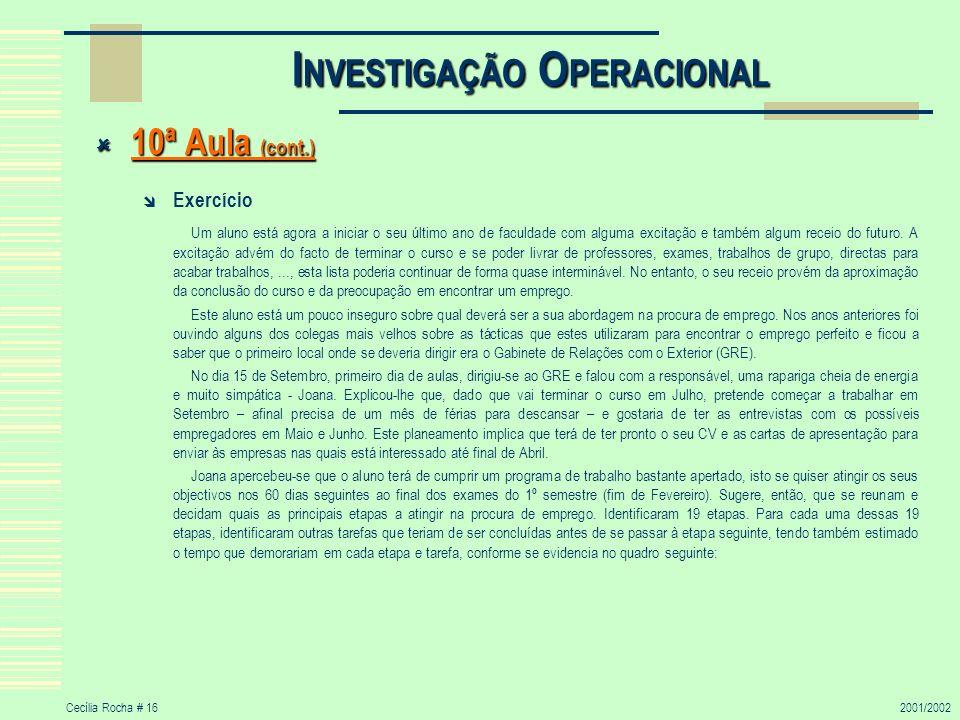 Cecília Rocha # 162001/2002 I NVESTIGAÇÃO O PERACIONAL 10ª Aula (cont.) 10ª Aula (cont.) Exercício Um aluno está agora a iniciar o seu último ano de f