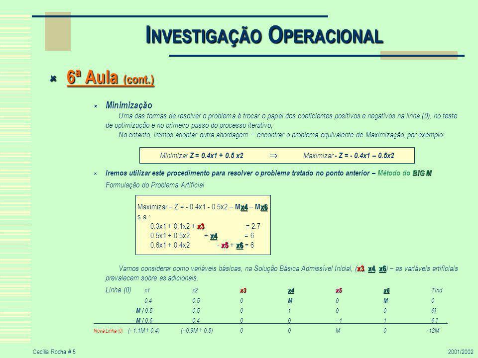 Cecília Rocha # 52001/2002 I NVESTIGAÇÃO O PERACIONAL 6ª Aula (cont.) 6ª Aula (cont.) Minimização Uma das formas de resolver o problema é trocar o papel dos coeficientes positivos e negativos na linha (0), no teste de optimização e no primeiro passo do processo iterativo; No entanto, iremos adoptar outra abordagem – encontrar o problema equivalente de Maximização, por exemplo: BIG M Iremos utilizar este procedimento para resolver o problema tratado no ponto anterior – Método do BIG M Formulação do Problema Artificial x3x4x6 Vamos considerar como variáveis básicas, na Solução Básica Admissível Inicial, ( x3, x4, x6 ) – as variáveis artificiais prevalecem sobre as adicionais.