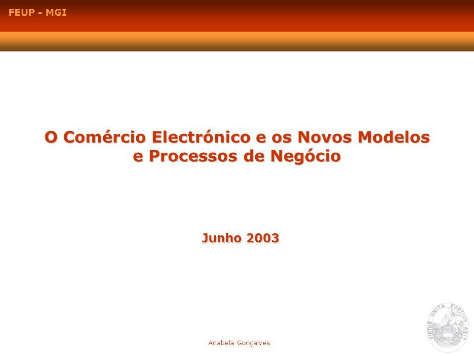 O Comércio Electrónico e os Novos Modelos e Processos de Negócio Junho 2003 Anabela Gonçalves FEUP - MGI