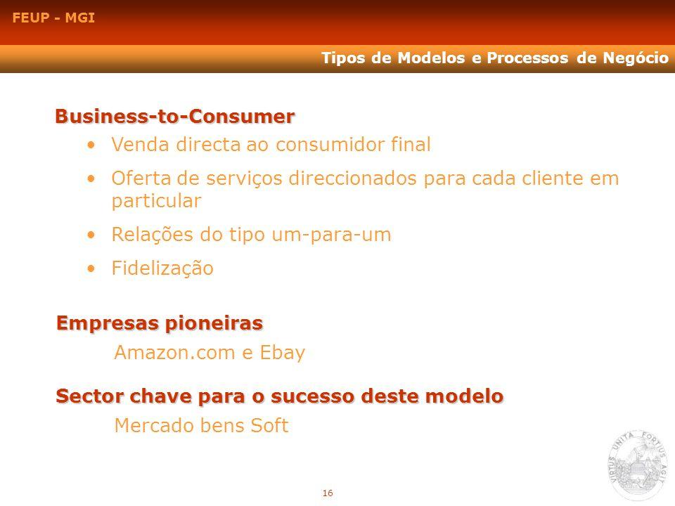 FEUP - MGI Tipos de Modelos e Processos de Negócio Business-to-Consumer Empresas pioneiras Amazon.com e Ebay Sector chave para o sucesso deste modelo
