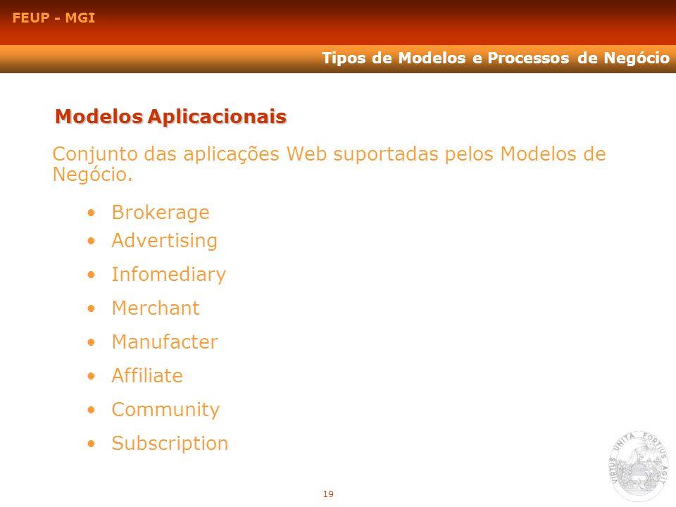 FEUP - MGI Tipos de Modelos e Processos de Negócio Modelos Aplicacionais Conjunto das aplicações Web suportadas pelos Modelos de Negócio. Brokerage Ad