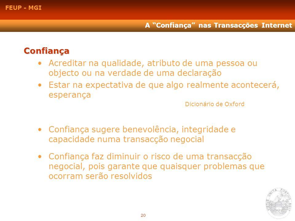 FEUP - MGI A Confiança nas Transacções Internet Confiança Acreditar na qualidade, atributo de uma pessoa ou objecto ou na verdade de uma declaração Es