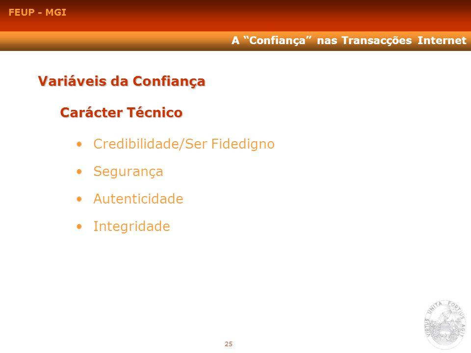 FEUP - MGI A Confiança nas Transacções Internet Variáveis da Confiança Carácter Técnico Credibilidade/Ser Fidedigno Segurança Autenticidade Integridad