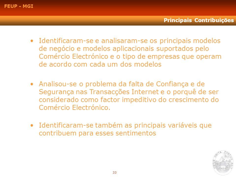 FEUP - MGI Principais Contribuições Analisou-se o problema da falta de Confiança e de Segurança nas Transacções Internet e o porquê de ser considerado
