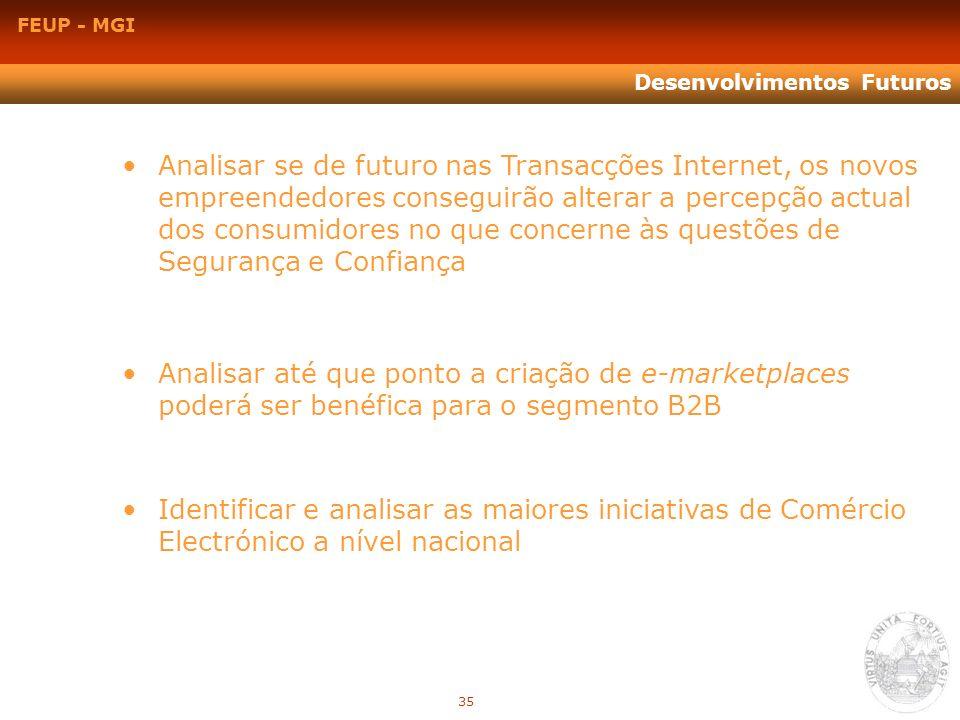 FEUP - MGI Desenvolvimentos Futuros Identificar e analisar as maiores iniciativas de Comércio Electrónico a nível nacional Analisar se de futuro nas T