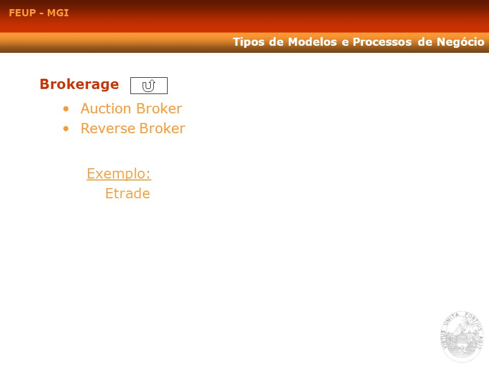 FEUP - MGI Tipos de Modelos e Processos de Negócio Brokerage Auction Broker Reverse Broker Auction Broker Reverse Broker Exemplo: Etrade