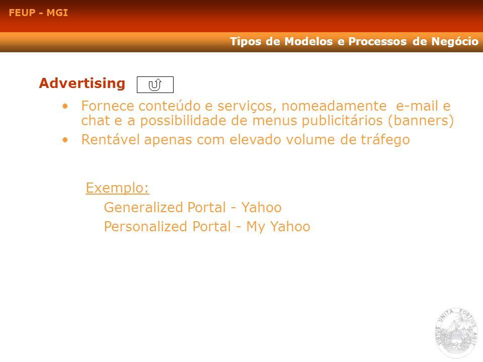 FEUP - MGI Tipos de Modelos e Processos de Negócio Advertising Fornece conteúdo e serviços, nomeadamente e-mail e chat e a possibilidade de menus publ