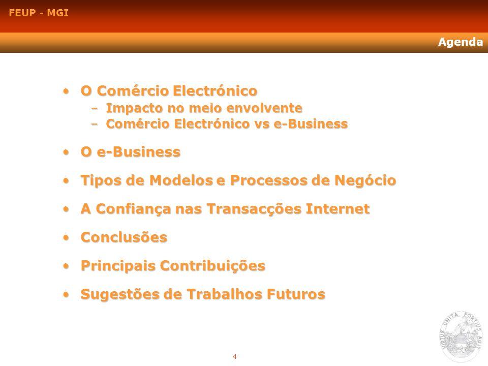 FEUP - MGI Agenda O Comércio ElectrónicoO Comércio Electrónico –Impacto no meio envolvente –Comércio Electrónico vs e-Business O e-BusinessO e-Busines
