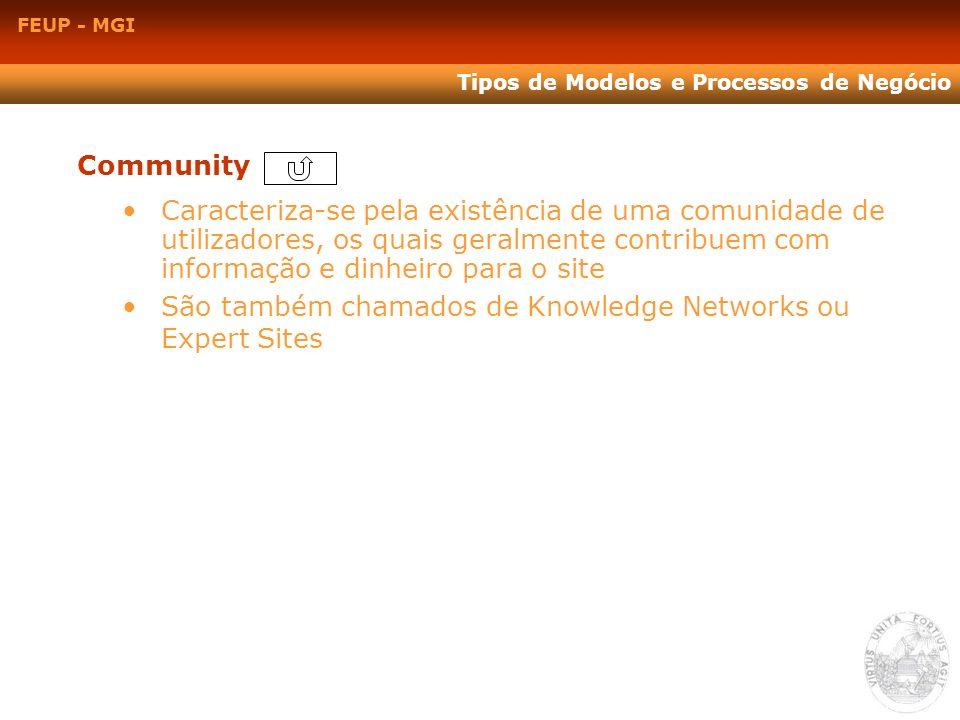 Community Caracteriza-se pela existência de uma comunidade de utilizadores, os quais geralmente contribuem com informação e dinheiro para o site São t