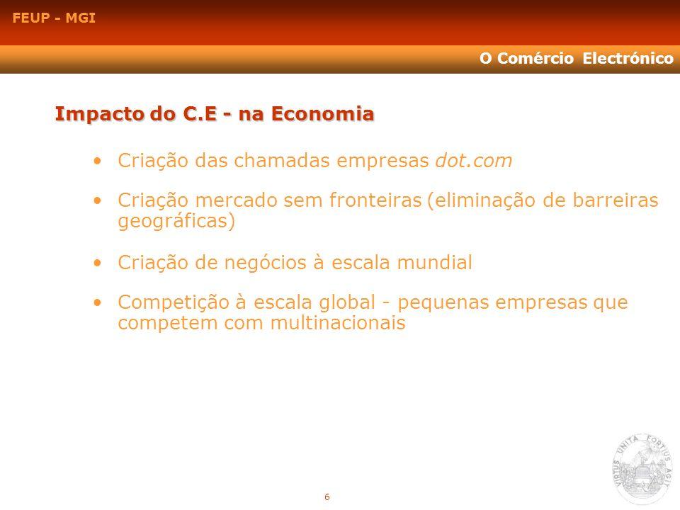 FEUP - MGI O Comércio Electrónico Impacto do C.E - na Economia Criação das chamadas empresas dot.com Criação mercado sem fronteiras (eliminação de bar