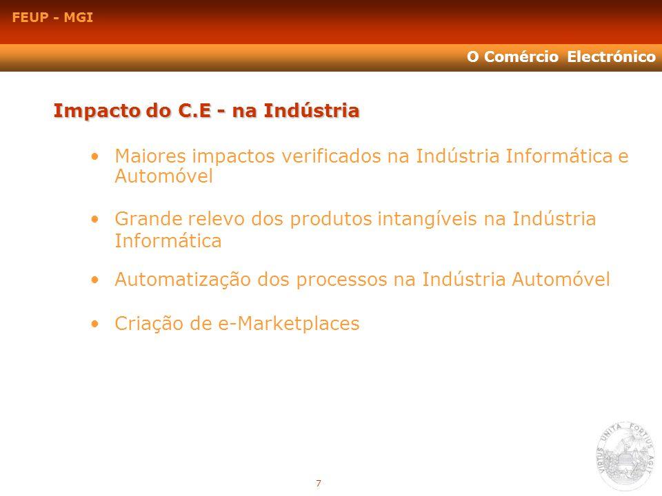 FEUP - MGI O Comércio Electrónico Impacto do C.E - na Indústria Maiores impactos verificados na Indústria Informática e Automóvel Grande relevo dos pr