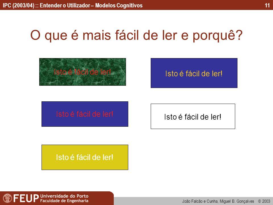 IPC (2003/04) :: Entender o Utilizador – Modelos Cognitivos João Falcão e Cunha, Miguel B. Gonçalves © 2003 11 O que é mais fácil de ler e porquê? Ist