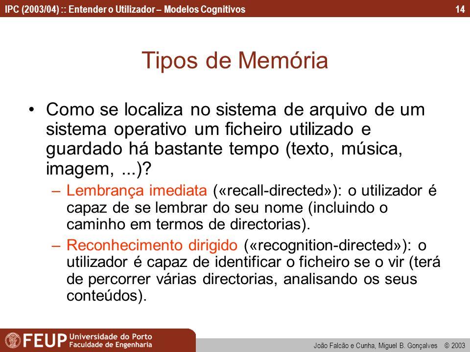 IPC (2003/04) :: Entender o Utilizador – Modelos Cognitivos João Falcão e Cunha, Miguel B. Gonçalves © 2003 14 Tipos de Memória Como se localiza no si
