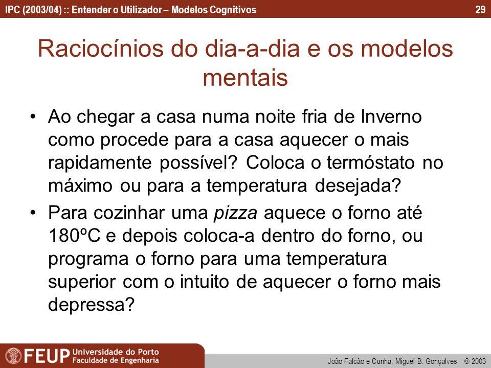 IPC (2003/04) :: Entender o Utilizador – Modelos Cognitivos João Falcão e Cunha, Miguel B. Gonçalves © 2003 29 Raciocínios do dia-a-dia e os modelos m