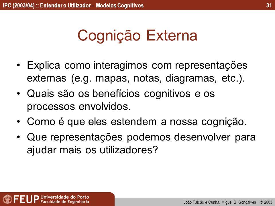 IPC (2003/04) :: Entender o Utilizador – Modelos Cognitivos João Falcão e Cunha, Miguel B. Gonçalves © 2003 31 Cognição Externa Explica como interagim