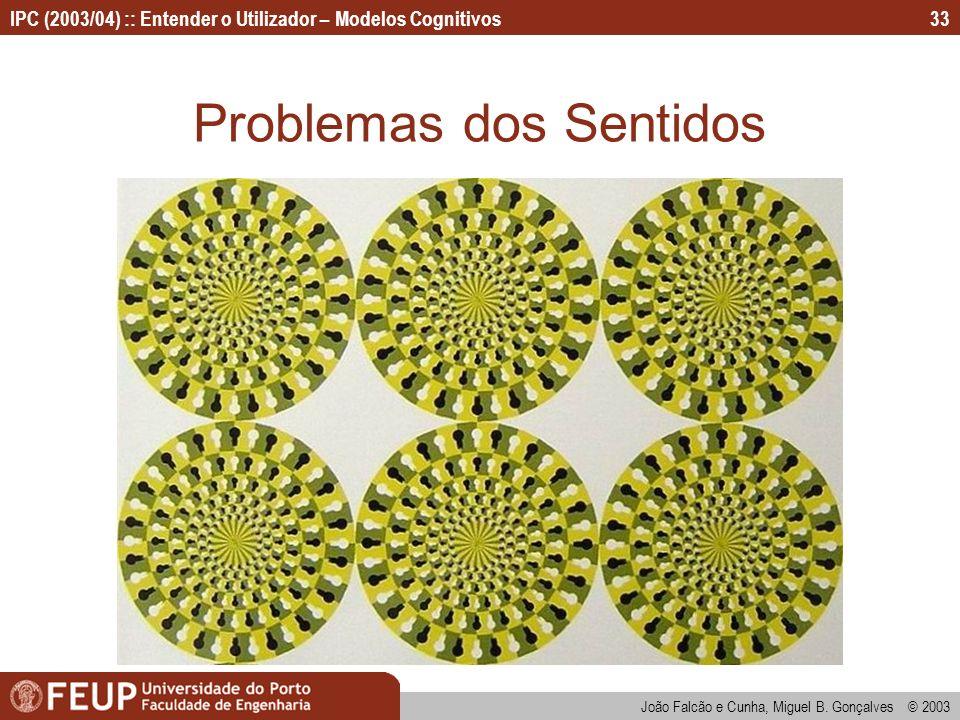 IPC (2003/04) :: Entender o Utilizador – Modelos Cognitivos João Falcão e Cunha, Miguel B. Gonçalves © 2003 33 Problemas dos Sentidos
