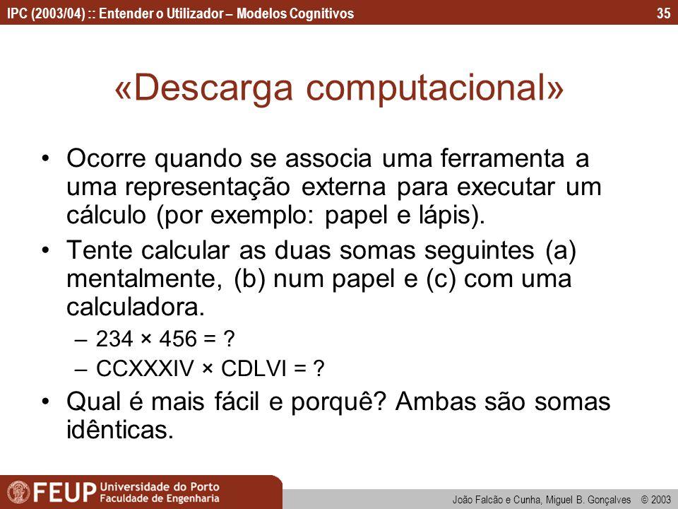 IPC (2003/04) :: Entender o Utilizador – Modelos Cognitivos João Falcão e Cunha, Miguel B. Gonçalves © 2003 35 «Descarga computacional» Ocorre quando