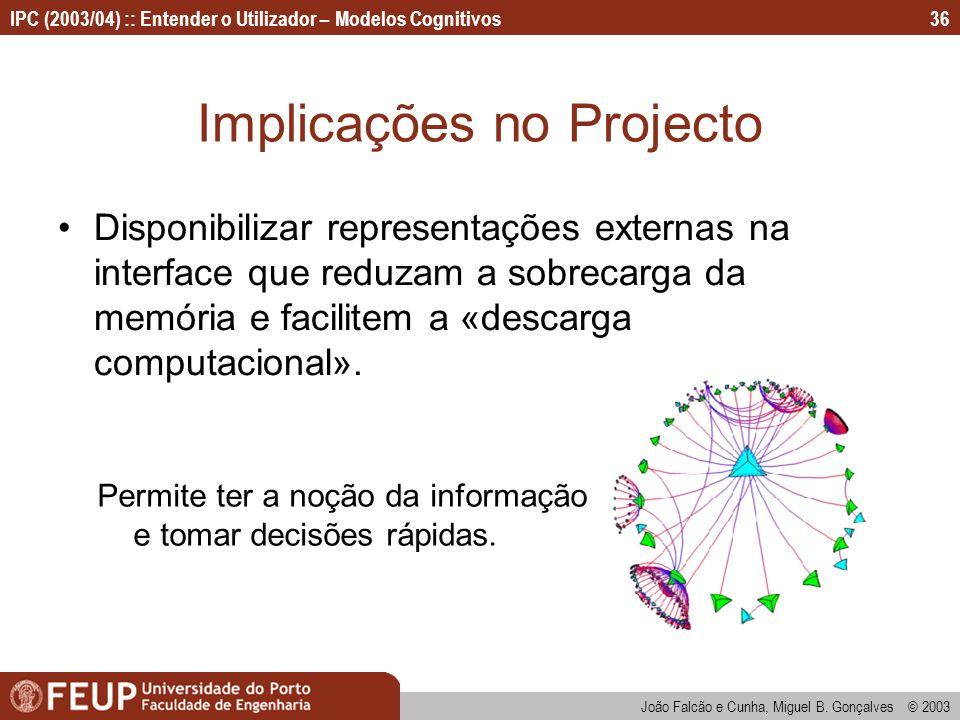 IPC (2003/04) :: Entender o Utilizador – Modelos Cognitivos João Falcão e Cunha, Miguel B. Gonçalves © 2003 36 Implicações no Projecto Disponibilizar