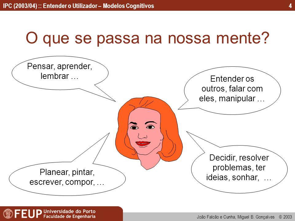 IPC (2003/04) :: Entender o Utilizador – Modelos Cognitivos João Falcão e Cunha, Miguel B. Gonçalves © 2003 4 O que se passa na nossa mente? Entender