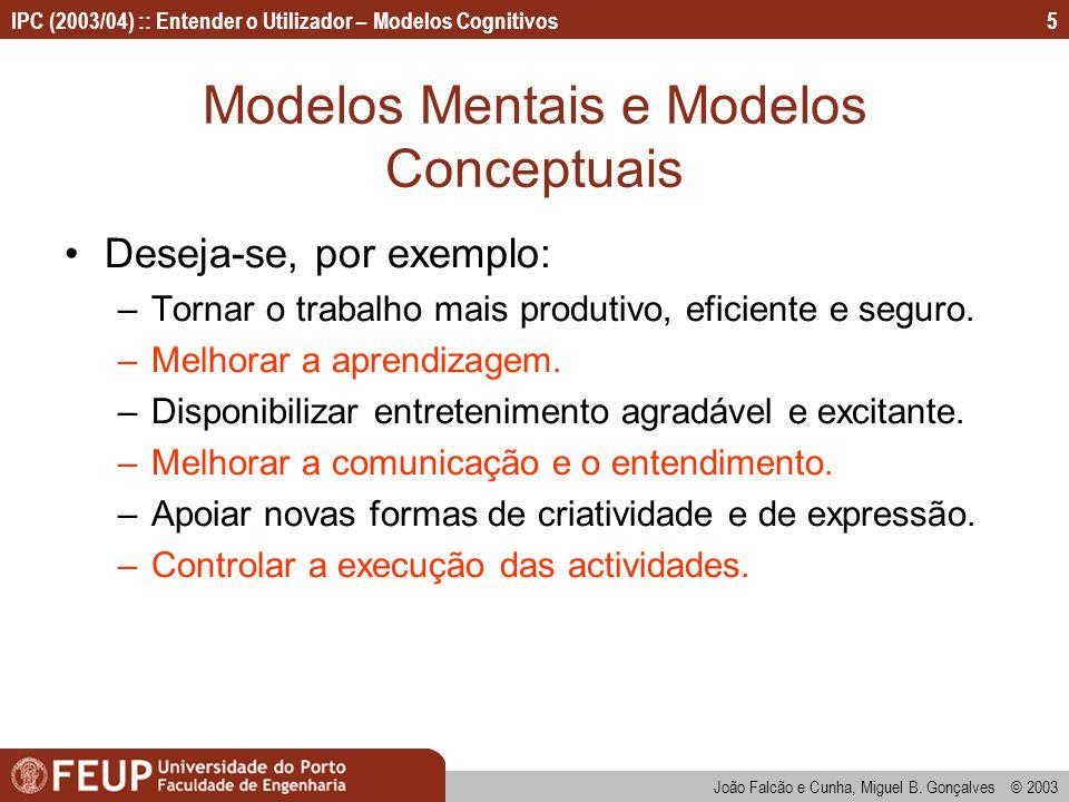 IPC (2003/04) :: Entender o Utilizador – Modelos Cognitivos João Falcão e Cunha, Miguel B. Gonçalves © 2003 5 Modelos Mentais e Modelos Conceptuais De