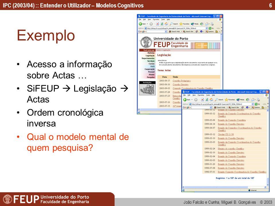 IPC (2003/04) :: Entender o Utilizador – Modelos Cognitivos João Falcão e Cunha, Miguel B. Gonçalves © 2003 6 Exemplo Acesso a informação sobre Actas