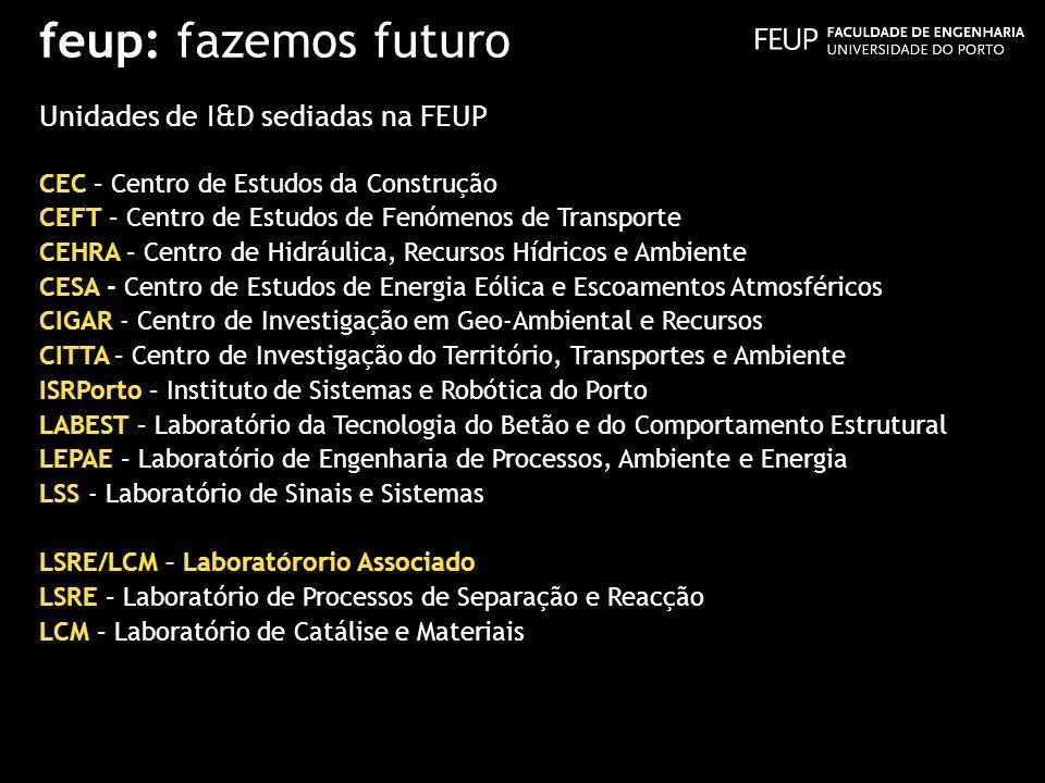 feup: fazemos futuro Unidades de I&D sediadas na FEUP CEC – Centro de Estudos da Construção CEFT – Centro de Estudos de Fenómenos de Transporte CEHRA