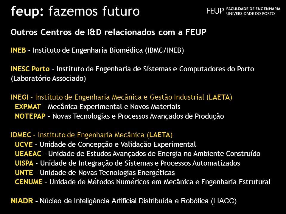 feup: fazemos futuro Outros Centros de I&D relacionados com a FEUP INEB - Instituto de Engenharia Biomédica (IBMC/INEB) INESC Porto - Instituto de Eng