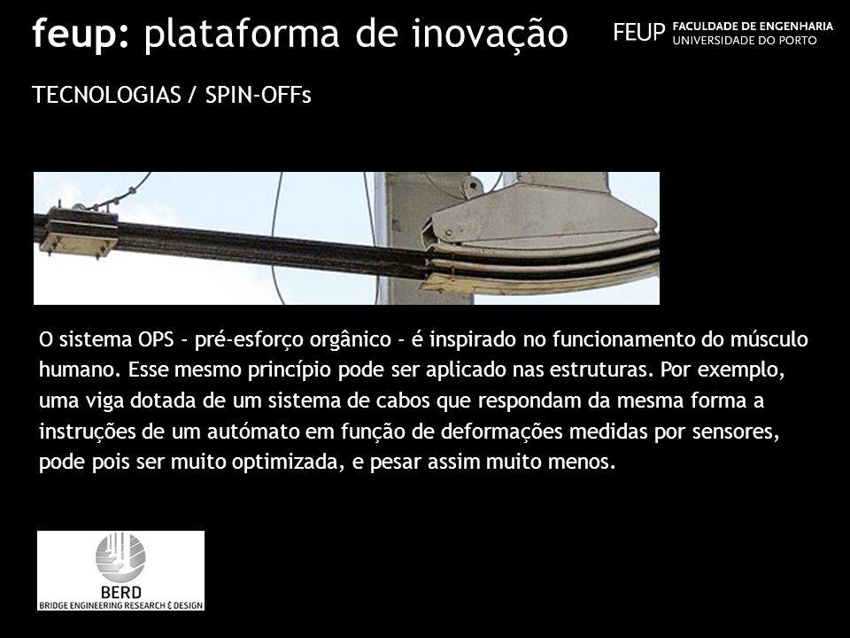 feup: plataforma de inovação TECNOLOGIAS / SPIN-OFFs O sistema OPS - pré-esforço orgânico - é inspirado no funcionamento do músculo humano. Esse mesmo