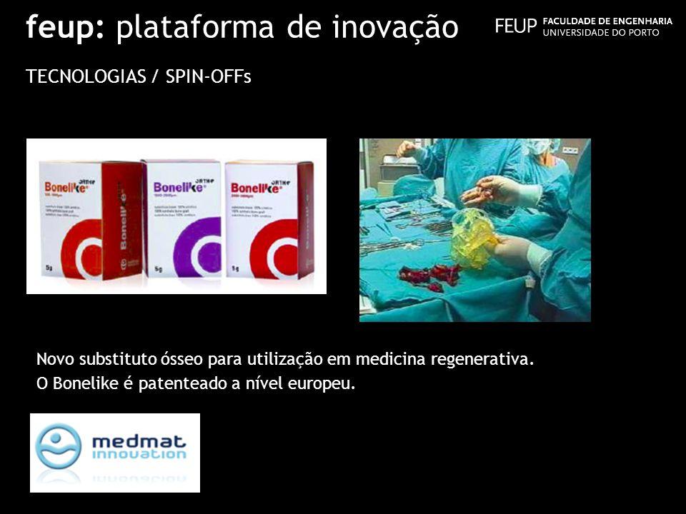 feup: plataforma de inovação TECNOLOGIAS / SPIN-OFFs Novo substituto ósseo para utilização em medicina regenerativa. O Bonelike é patenteado a nível e