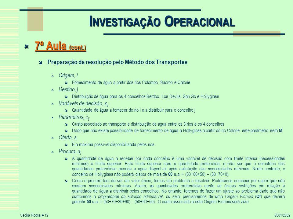 Cecília Rocha # 122001/2002 I NVESTIGAÇÃO O PERACIONAL 7ª Aula (cont.) 7ª Aula (cont.) Preparação da resolução pelo Método dos Transportes Origem, i F