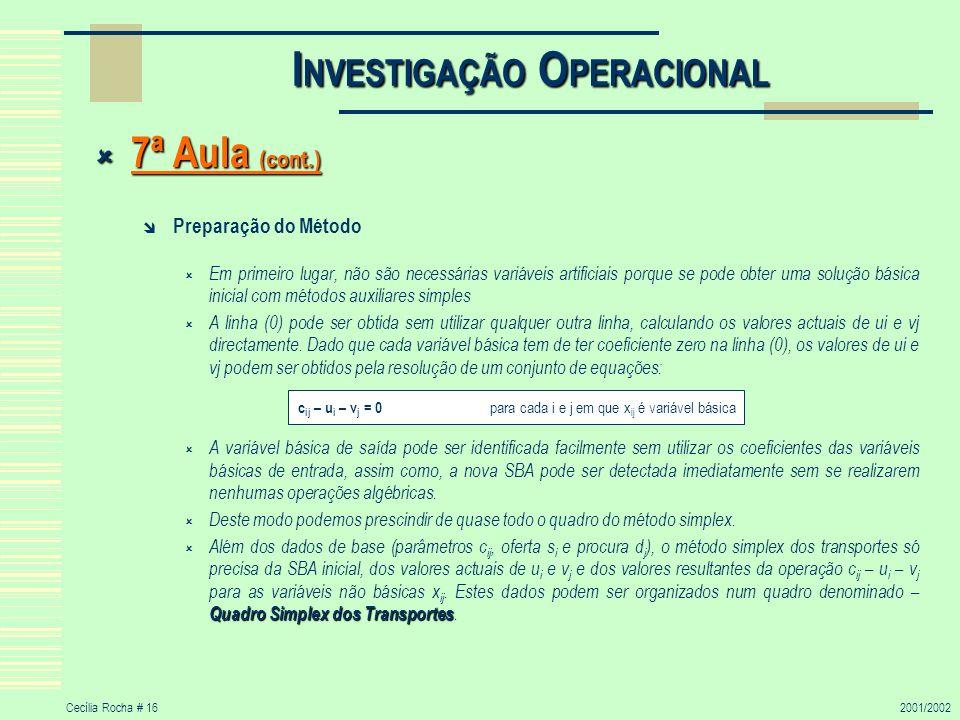 Cecília Rocha # 162001/2002 I NVESTIGAÇÃO O PERACIONAL 7ª Aula (cont.) 7ª Aula (cont.) Preparação do Método Em primeiro lugar, não são necessárias var