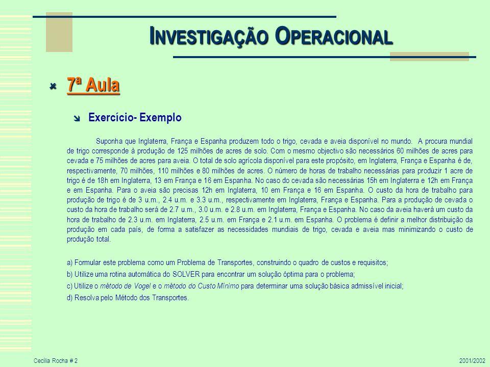 Cecília Rocha # 32001/2002 I NVESTIGAÇÃO O PERACIONAL 7ª Aula (cont.) 7ª Aula (cont.) x11 18*3.0 u.m.
