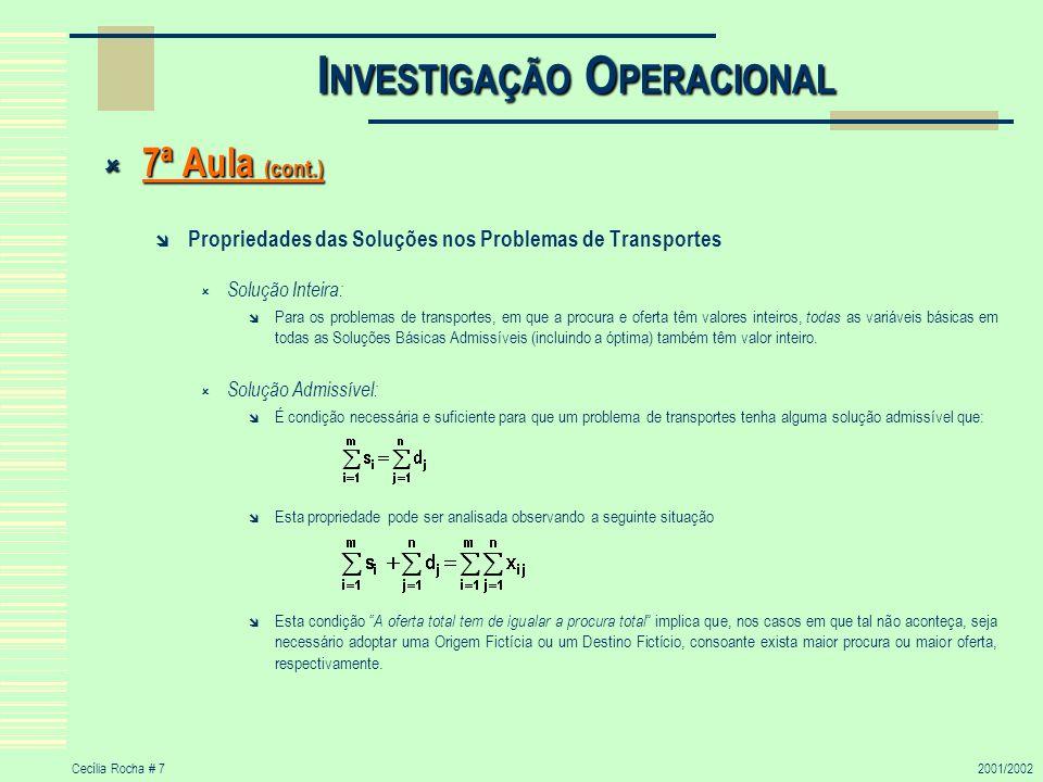 Cecília Rocha # 72001/2002 I NVESTIGAÇÃO O PERACIONAL 7ª Aula (cont.) 7ª Aula (cont.) Propriedades das Soluções nos Problemas de Transportes Solução I