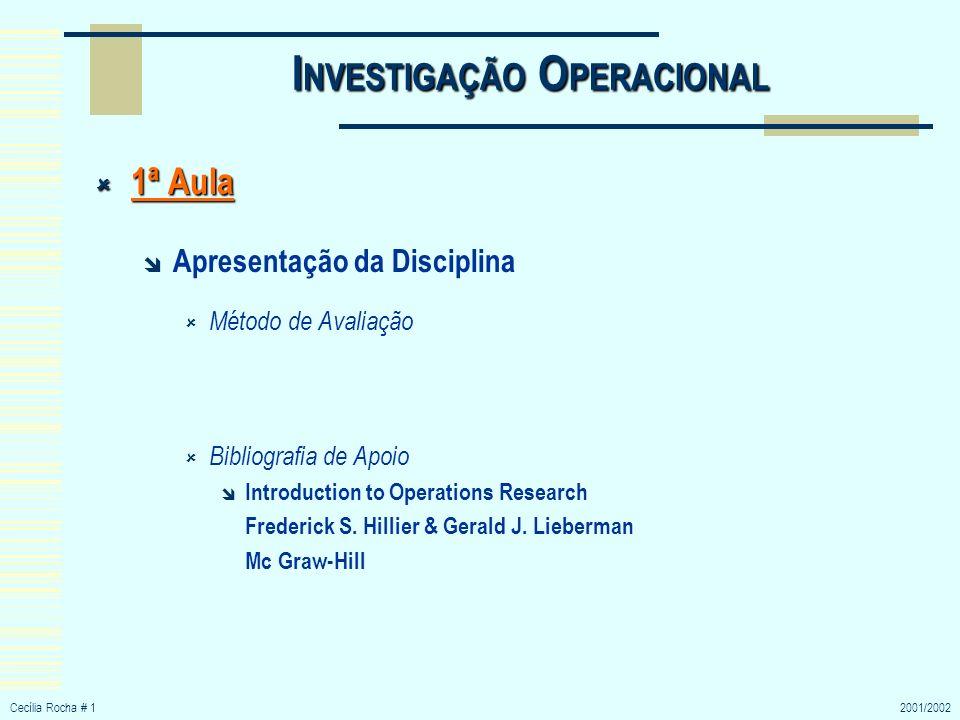 Cecília Rocha # 12001/2002 I NVESTIGAÇÃO O PERACIONAL 1ª Aula 1ª Aula Apresentação da Disciplina Método de Avaliação Bibliografia de Apoio Introductio