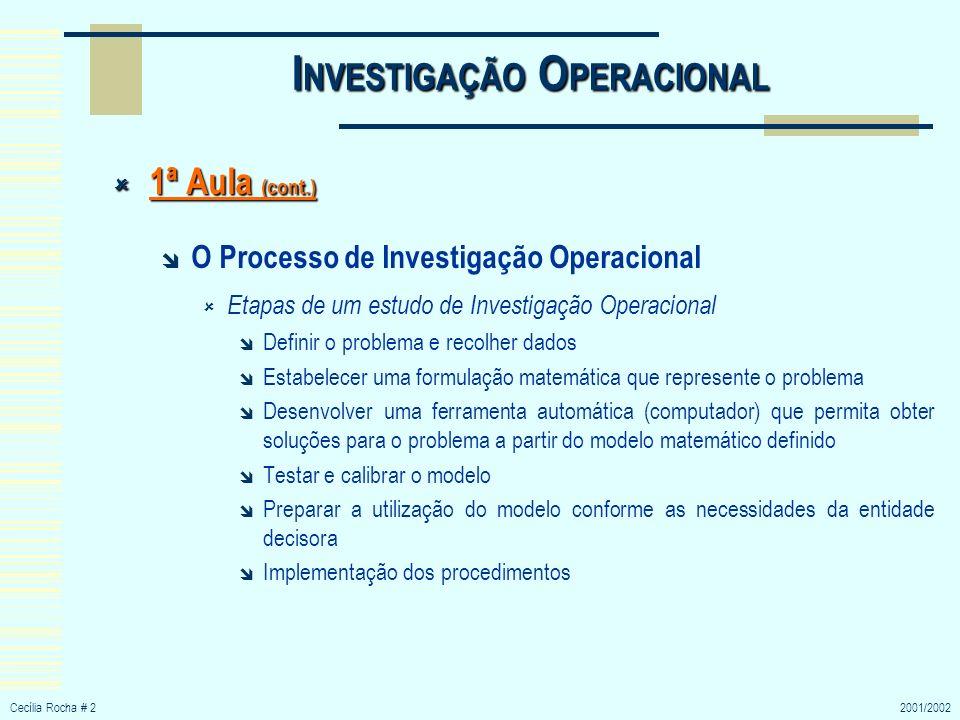 Cecília Rocha # 32001/2002 I NVESTIGAÇÃO O PERACIONAL 1ª Aula (cont.) 1ª Aula (cont.) Definição do Problema e Recolha de Dados Escolha de objectivos adequados ( ex.