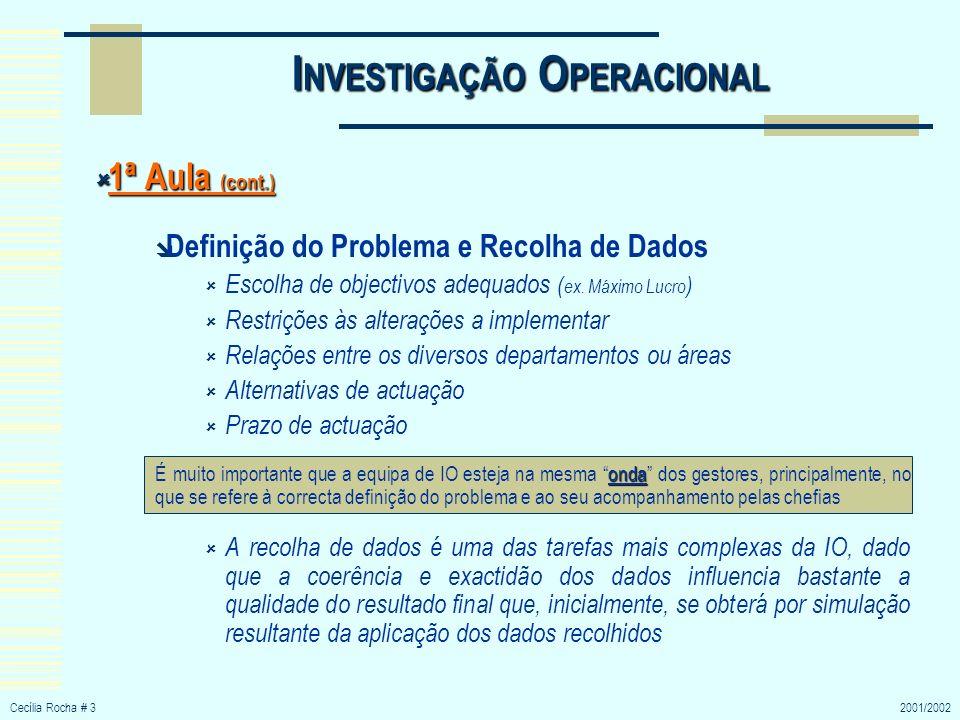 Cecília Rocha # 32001/2002 I NVESTIGAÇÃO O PERACIONAL 1ª Aula (cont.) 1ª Aula (cont.) Definição do Problema e Recolha de Dados Escolha de objectivos a