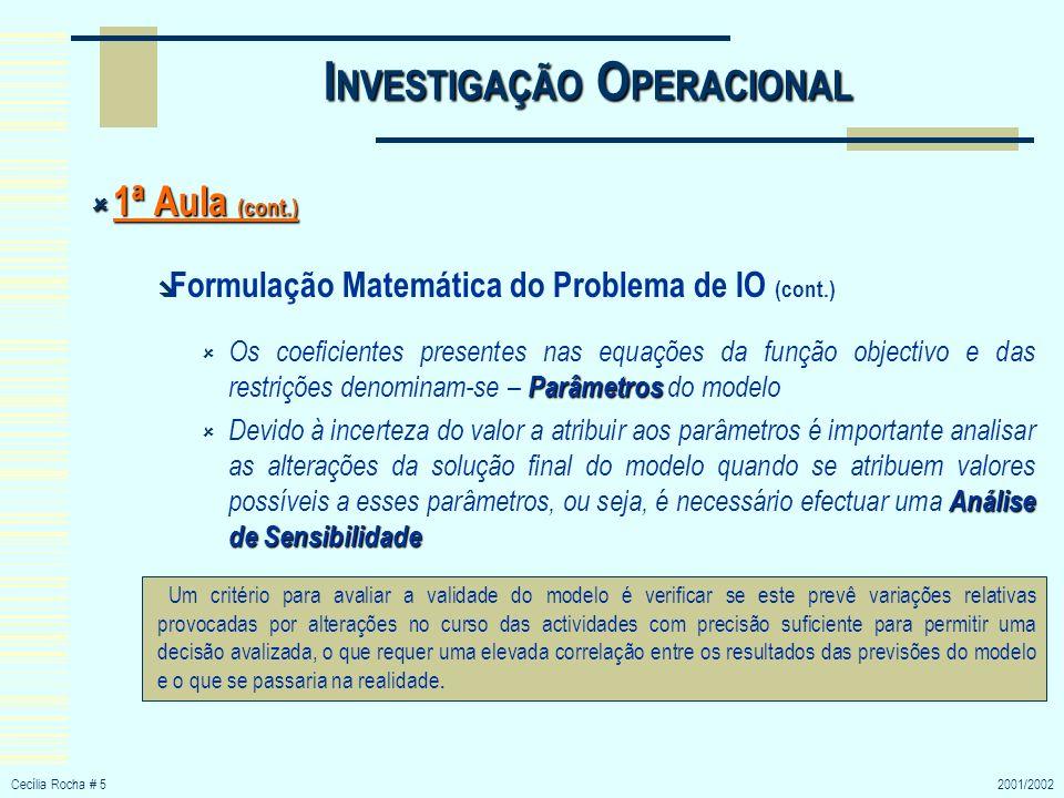 Cecília Rocha # 62001/2002 I NVESTIGAÇÃO O PERACIONAL 1ª Aula (cont.) 1ª Aula (cont.) Soluções obtidas a partir do Modelo Depois da formulação matemática do modelo, a fase seguinte envolve a obtenção de soluções a partir do modelo definido, normalmente, com recurso a ferramentas informáticas e através de algoritmos de IO Em IO procura-se obter uma solução óptima ou, pelo menos, a melhor solução.