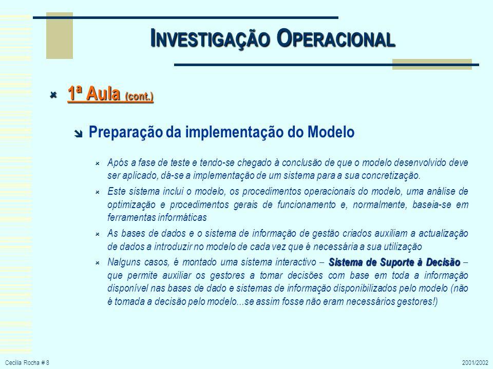 Cecília Rocha # 82001/2002 I NVESTIGAÇÃO O PERACIONAL 1ª Aula (cont.) 1ª Aula (cont.) Preparação da implementação do Modelo Após a fase de teste e ten