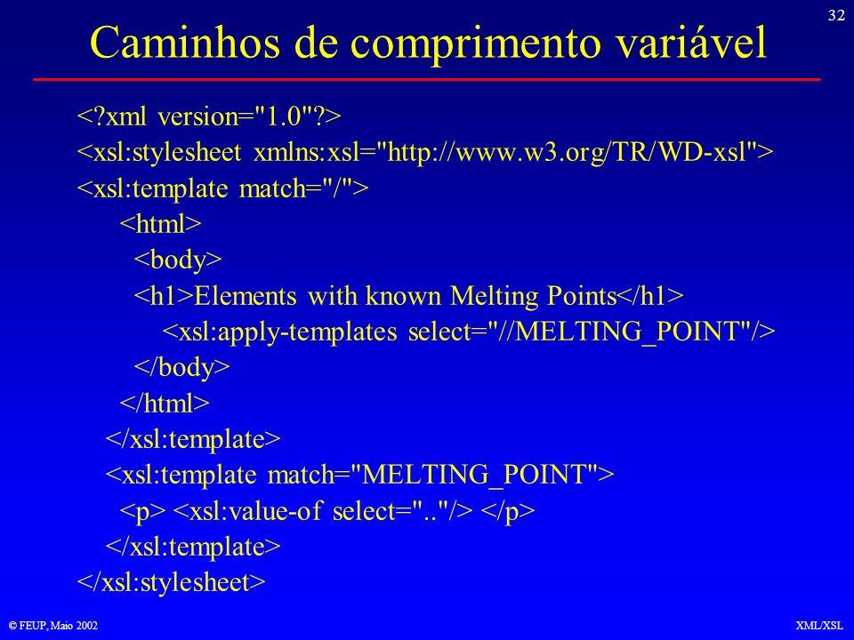 32 © FEUP, Maio 2002XML/XSL Caminhos de comprimento variável Elements with known Melting Points