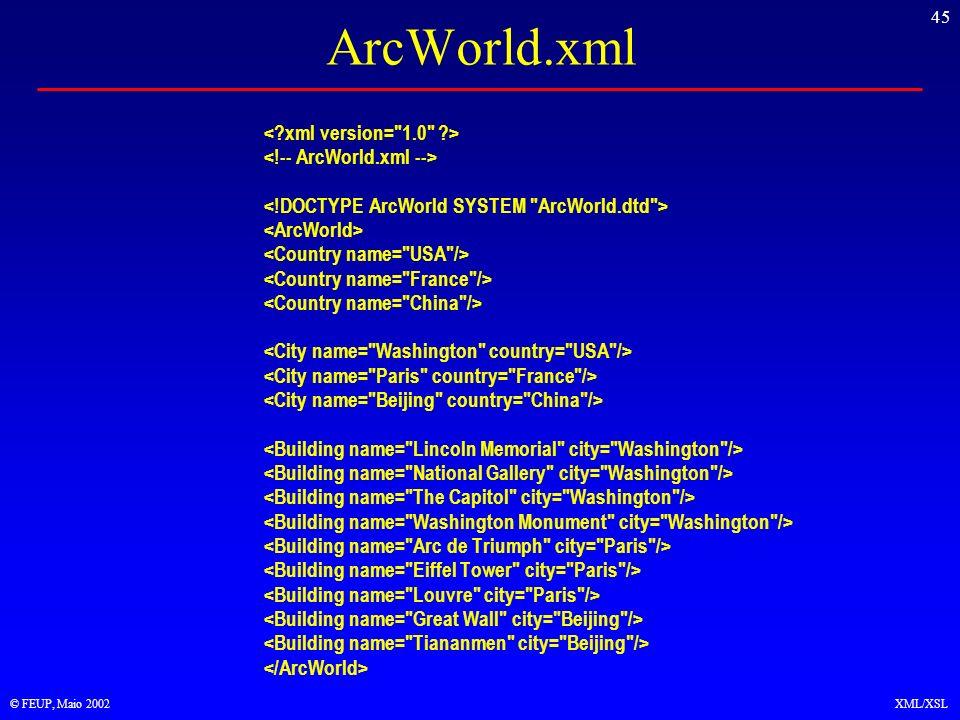 45 © FEUP, Maio 2002XML/XSL ArcWorld.xml