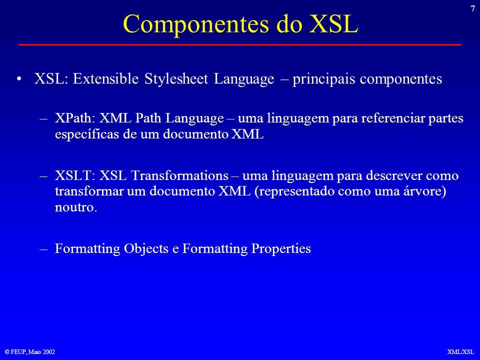 8 © FEUP, Maio 2002XML/XSL XML -> Árvore XML resultante