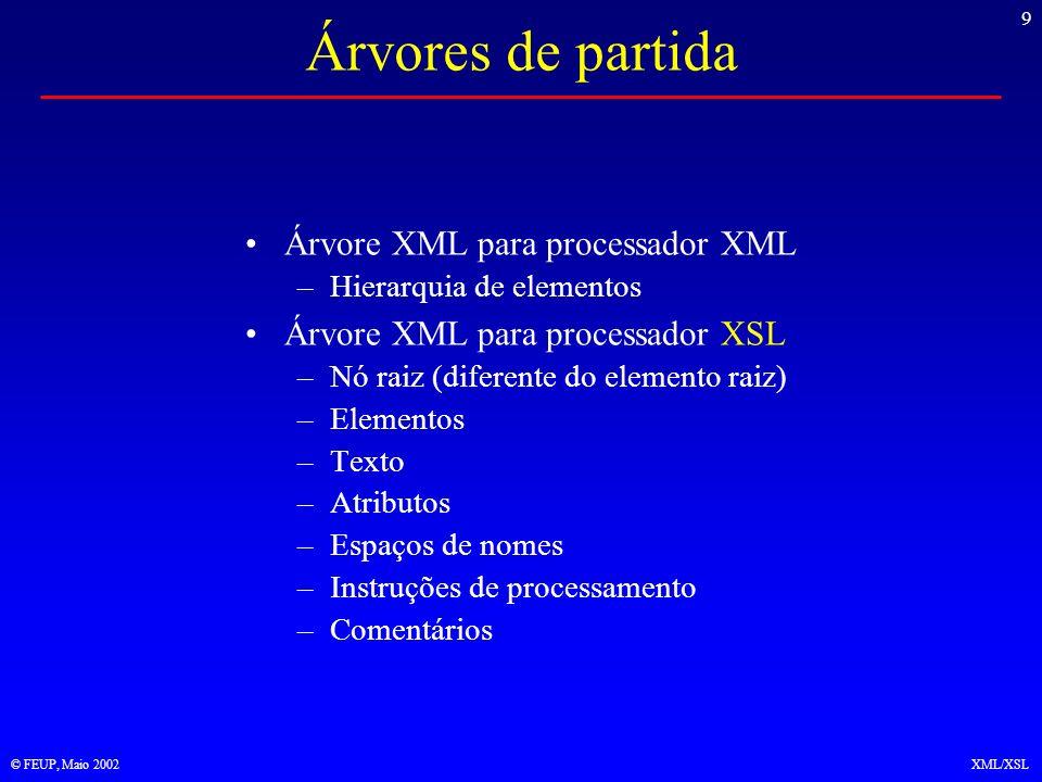 30 © FEUP, Maio 2002XML/XSL Condições de selecção Gases