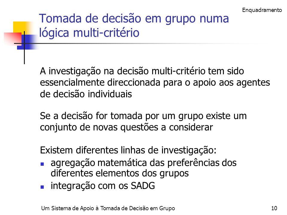 Um Sistema de Apoio à Tomada de Decisão em Grupo10 Tomada de decisão em grupo numa lógica multi-critério A investigação na decisão multi-critério tem